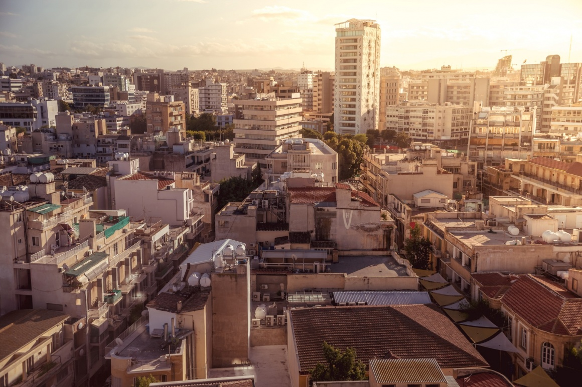 'Panorama view of southern part of Nicosia, capital and largest city on the island of Cyprus' - кипр
